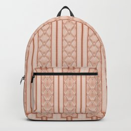 Cool Frosted Peach Quilted Geometric Design Backpack
