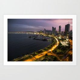 Panama City at Dusk Art Print