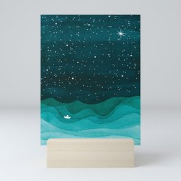Starry Ocean, teal sailboat watercolor sea waves night Mini Art Print