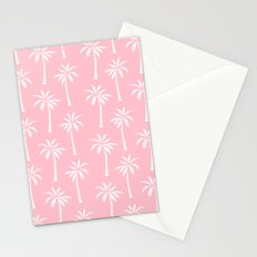 Palm trees pink tropical minimal ocean seaside socal beach life pattern print Stationery Cards