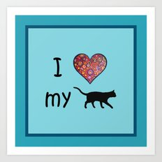 I heart my cat Art Print