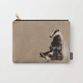 Badger Knitting a Scarf Carry-All Pouch