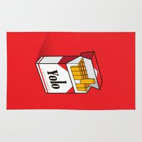 yolo Area & Throw Rugs featuring YOLO Cigarettes  by RJ Artworks