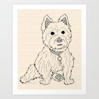 westie Art Prints featuring Westie Sketch by Circus Dog Industries