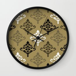 Cresta Damask Ptn Black White Bronzes Gold Wall Clock