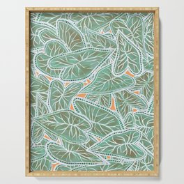Tropical Caladium Leaves Pattern - Green Serving Tray