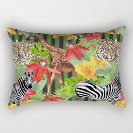 leopard, zebras, giraf and flowers Rectangular Pillow