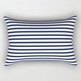 Navy Blue Nautical Stripes Minimal Rectangular Pillow