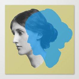 Virginia Woolf portrait green blue Canvas Print
