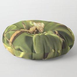 Praying Mantis On Green Garden Background Floor Pillow