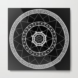 Zen Star Mandala - Black White - Square Metal Print