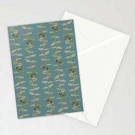 Eucalyptus Patterns with Aqua Background Realistic Botanic Patterns Organic & Striped Patterns Stationery Cards