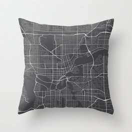 Edmonton Map, Canada - Gray Throw Pillow