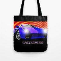 lamborghini Tote Bags featuring Lamborghini Gallardo (2) by JT Digital Art