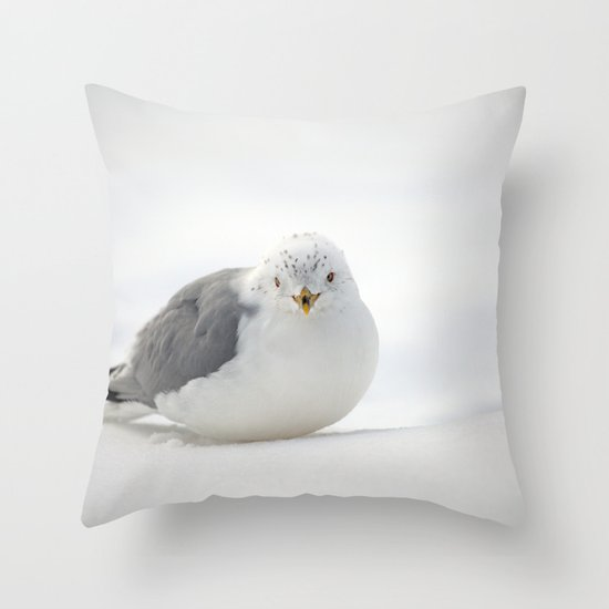 Snow Gull Throw Pillow