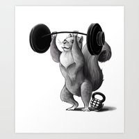 crossfit Art Prints featuring Crossfit Squirrel by The Elfin Artist