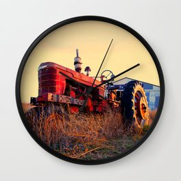 old tractor red machine vintage Wall Clock