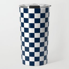 Small Checkered - White and Oxford Blue Travel Mug