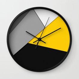 Simple Modern Gray Yellow and Black Geometric Wall Clock