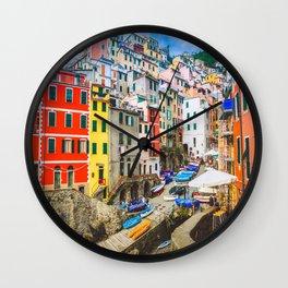 Colorful Riomaggiore Cinque Terre Italy Wall Clock