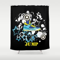 sneaker Shower Curtains featuring Jump, Dance, Sneaker, Hip Hop by MiartDesignCreation