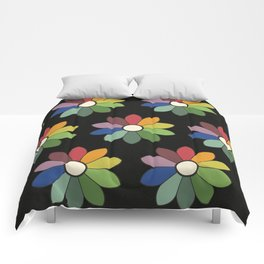 Flower pattern based on James Ward's Chromatic Circle (vintage wash) Comforters
