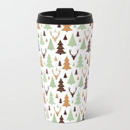Reindeer Christmas Tree Forest Travel Mug