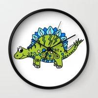 dinosaur Wall Clocks featuring Dinosaur by Peggy Cline