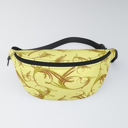 Luxurious royal monograms in olive tones on ocher background. Fanny Pack
