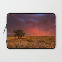 Fire Within - Red Sky and Rainbow Over Lone Tree on Great Plains Laptop Sleeve