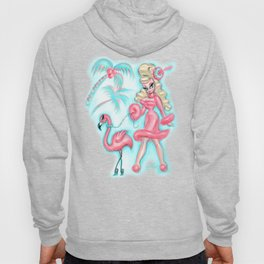 Pinup Doll Walking a Flamingo Hoody