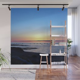 Sun Sets up the River, Across the Sea Wall Mural