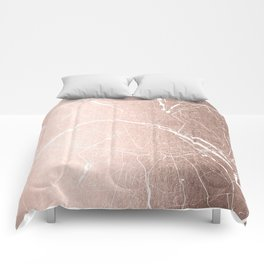 Paris France Minimal Street Map - Rose Gold Glitter on White Comforters