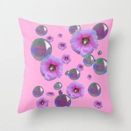 PINK-PURPLE FLOATING HOLLYHOCKS & SOAP BUBBLES PINK  ART Throw Pillow