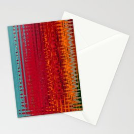 Warm red & turquoise Floor Pattern Art Stationery Cards