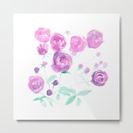 violet watercolor roses Metal Print