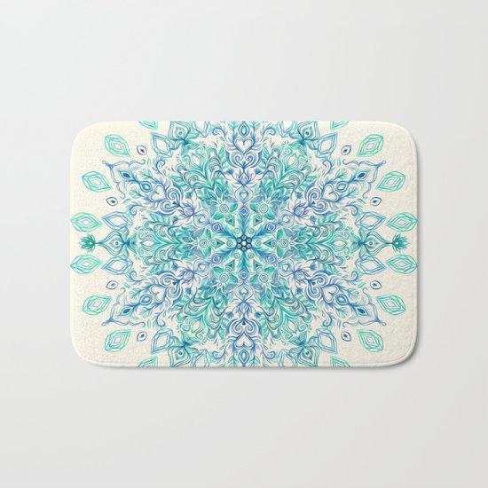Peppermint Snowflake on Cream Bath Mat