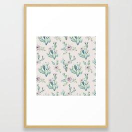 Pretty Cactus Rose Pattern Pale Pink + Green Framed Art Print