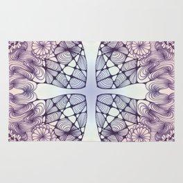 Purple Wash Zentangled Cross Tile Doodle Design Rug