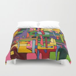 Colors in Collision 3 - Geometric Abstract of Colors that Clash Duvet Cover