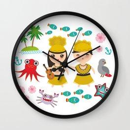 Hawaiian Hula Dancer Kawaii boy girl, set of Hawaii symbols with a guitar ukulele Wall Clock