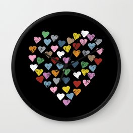 Distressed Hearts Heart Black Wall Clock