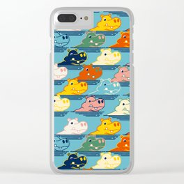 Happy Hippo Family Clear iPhone Case
