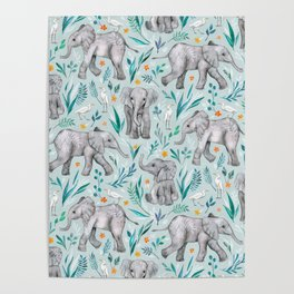 Baby Elephants and Egrets in Watercolor - egg shell blue Poster