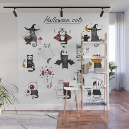 Halloween Cats In Terrible Imagery Wall Mural