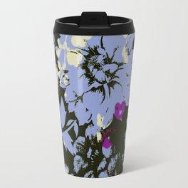 big sky blue dahlia on black Travel Mug