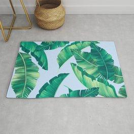 Summer lime leaves blue pattern Rug