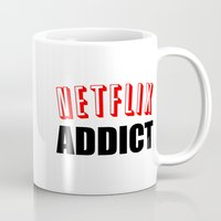 netflix Mugs featuring Netflix Addict by Poppo Inc.