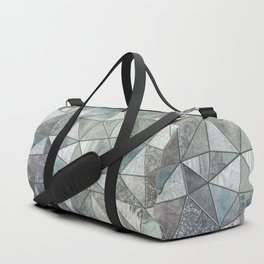 Teal And Grey Triangles Stained Glass Style Duffle Bag