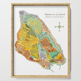 Mackinac Island Illustrated Map Serving Tray